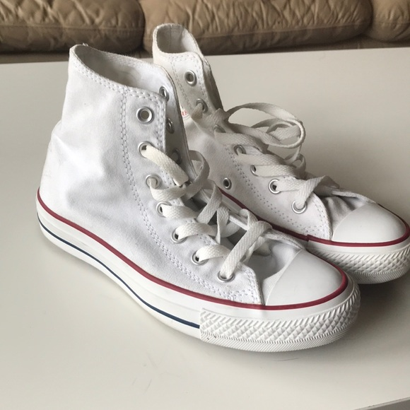 98084b39de01 Converse Shoes - White High Top Converse w  red   blue stripe EUC